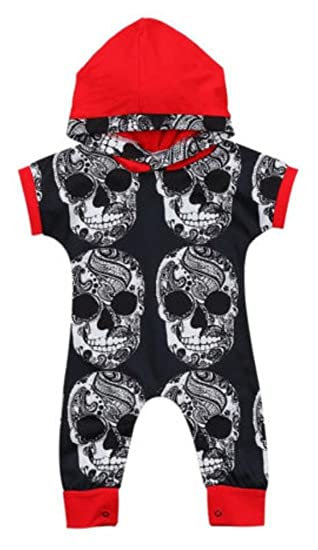 32f2272c4624 Amazon.com  Newborn Baby Boys Girls Skull Head Hooded Romper Short Sleeve  Jumpsuit Harem Outfits Size 12-18 Months Tag90 (Red)  Clothing