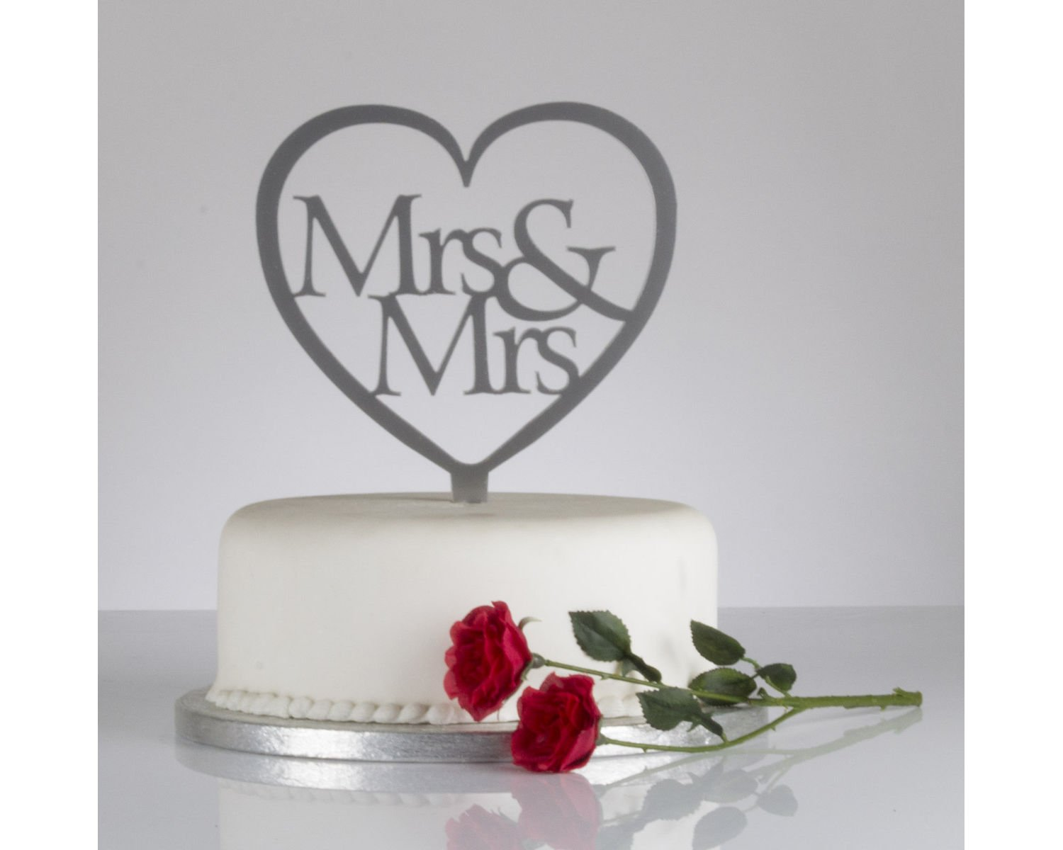 Mr Mrs Heart Shaped Wedding Cake Topper Silver Amazoncouk