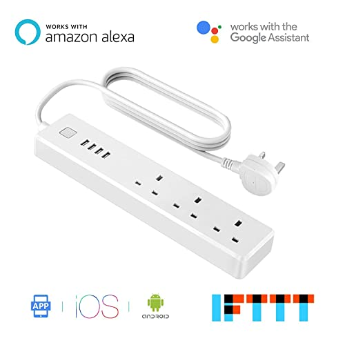Meross Smart Wi-Fi Surge Protector Multi Plug Sockets with 3 AC Outlets 4 USB Port Smart Power Strip App Remote Control Voice Control Works with Alexa Google Assistant and IFTTT no Hub Required MSS425E