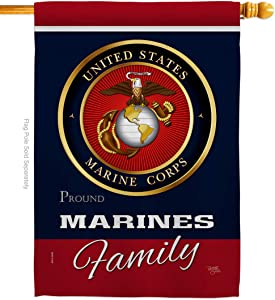 Marine Corps Marines Proudly Family House Flag Armed Forces USMC Semper Fi United State American Military Veteran Retire Official Small Decorative Gift Yard Banner Double-Sided Made In USA 28 X 40