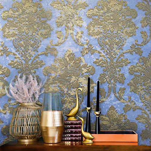 76 sq.ft Rolls Portofino wallcoverings Embossed Covering Vinyl Italian Wallpaper Blue Brass Gold Metallic Rusted Vintage Damask Design Victorian Plaster Pattern Textured Wallpapers Wall coverings 3D ()