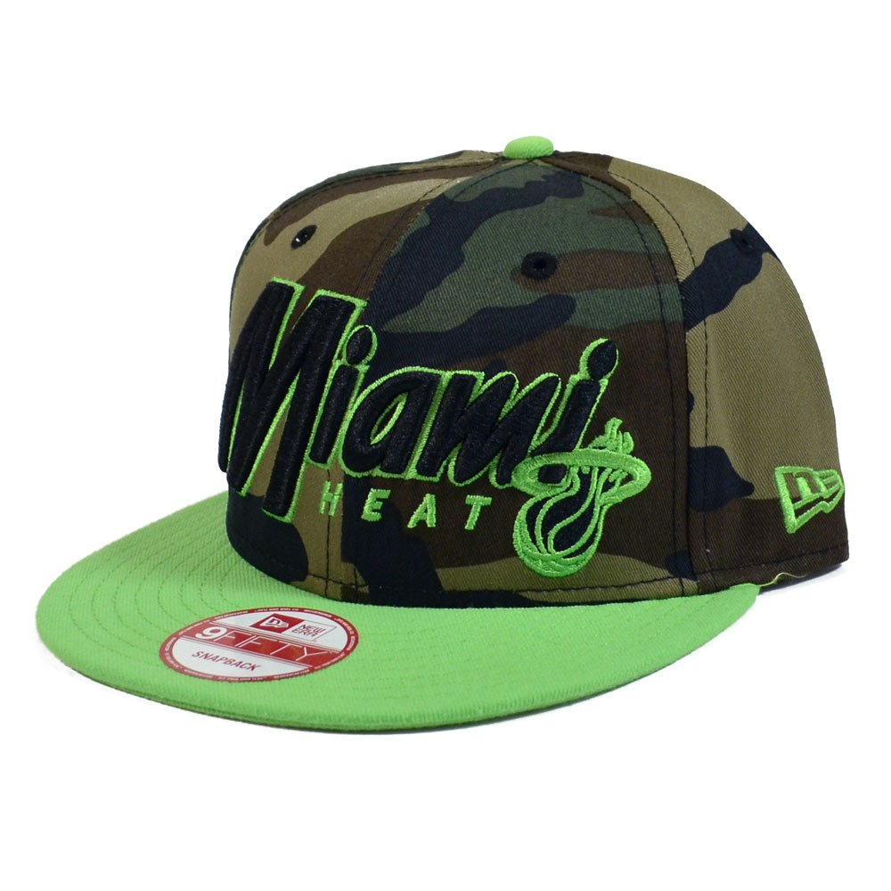 a216864e2cb Amazon.com  Miami Heat New Era 950 Woodland Camo Lime Green Snapback Hat   Clothing
