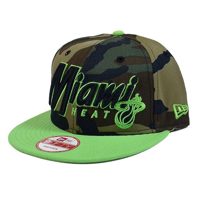 244b6c872 Miami Heat New Era 950 Woodland Camo Lime Green Snapback Hat