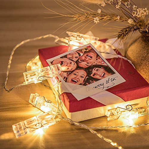 LED Photo Clip String Lights Hellum 40 Photo Clips,Fairy Lights 18.96 ft USB+Battery Powered,Wall Decoration Lights for Wedding Party Home Decor Christmas Lights Hanging Photos Pictures and Memos