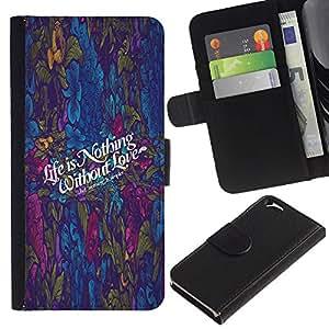 EJOY---Tirón de la caja Cartera de cuero con ranuras para tarjetas / Apple Iphone 6 / --Vida no es nada W / Love Guión O