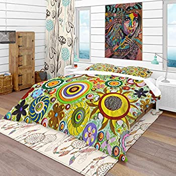 Image of Home and Kitchen Designart Abstract Acrylic Painting on Canvas-Bohemian & Eclectic Duvet Cover King Bedding Set, 2 Sham, Yellow & Gold