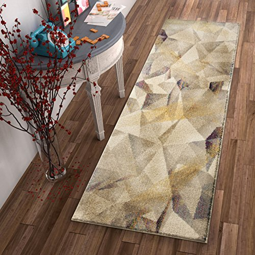 """61lSOMxNXQL - Barra Dusty Pink Multi-Color Modern Geometric Triangle Pattern Abstract 2x7 (2'3"""" x 7'3"""" Runner) Area Rug Contemporary Thick Soft Plush"""
