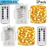 LED Fairy Lights String Copper Wire Lights- 100LEDs 33ft 8 Modes 【 Remote& Timer】Battery Operated for Christmas,Party,Festival Decorative Waterproof Outdoor&Indoor Fairy Lights(Warm White)