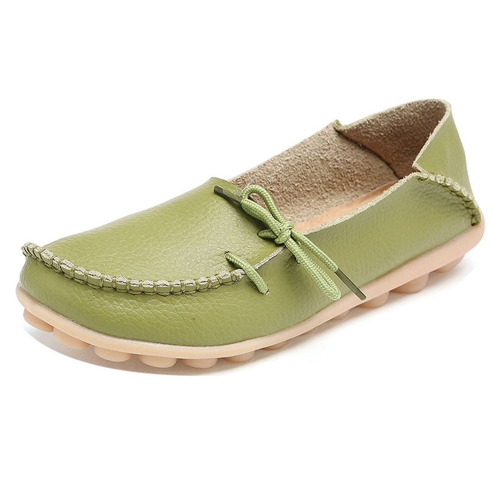 LONSOEN Women Moccasin Driving Shoes Casual Solid Leather Loafer and Slip On Boat Flats Glass Green SHC600 CN37