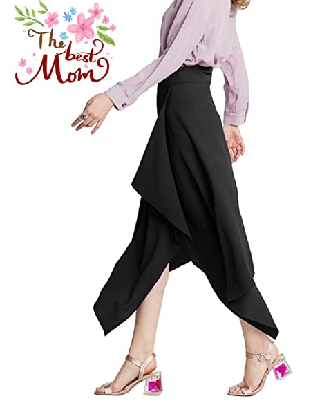 78be7aa550f Calvin Sally Women s Casual Flowy Dress High Waist Pleated Midi Skirt with  Pockets  Amazon.ca  Clothing   Accessories