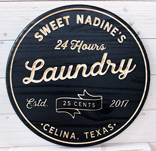 """Artis Design Laundry Room Signs, Custom, Wood Signs, Farmhouse Signs, Rustic, Vintage, Laundry Decor (24"""" Round, Black)"""