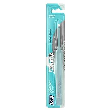 TePe Compact Tuft - Cepillo manual de cabezal pequeño/Cepillo de ortodoncia/Cepillo para implantes/Cepillo interdental/color azul