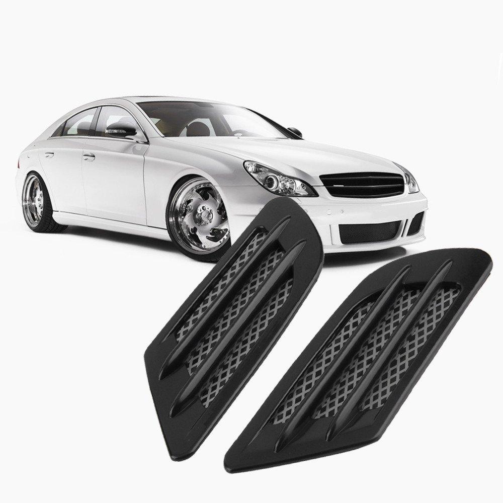 cybly (TM) 2pièces voiture côté latéral Débit d'air grille d'aération pour Fender trou pour conduit d'admission Grille Sticker Décoration en plastique ABS