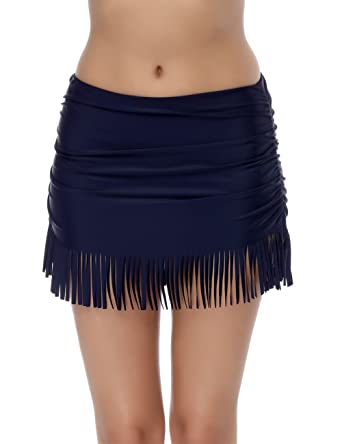 0abe13109627e JOYMODE Women Vintage Bikini Swimsuits Bottom Swimwear Skirt Navy Blue US  4-6