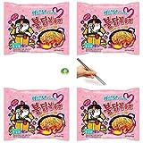 #1: Samyang Carbo Buldak Roasted Chicken Ramen Ramyun Noodle 130g (Pack of 4) + (1) Chopsticks