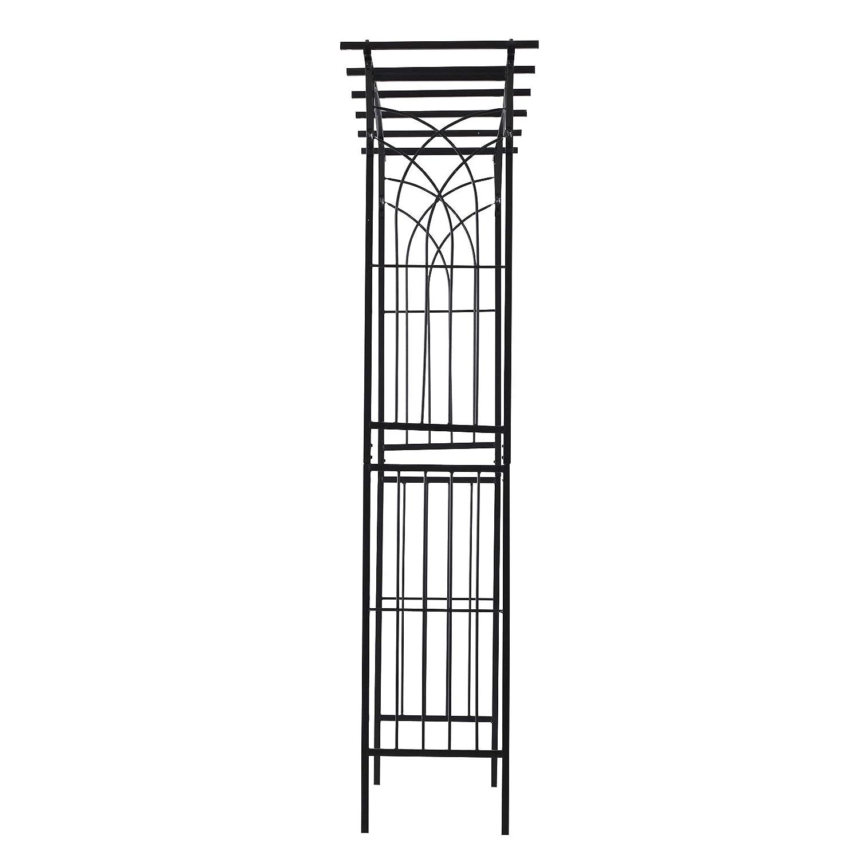 "Black Outsunny 82/"" Decorative Metal Garden Trellis Arch for Backyard Celebrations"