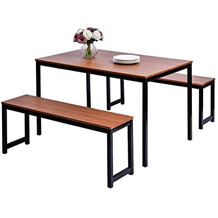 HARPER & BRIGHT DESIGNS 3-piece Dining Table Set Kitchen Table with Two  Benches, Kitchen Contemporary Home Furniture, Reddish Brown