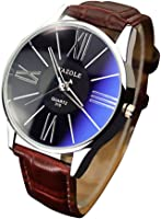 RoseSummer Famous Luxury Men's Wristwatch Quartz Watch Business Watch (Black Dial+Brown Strap)