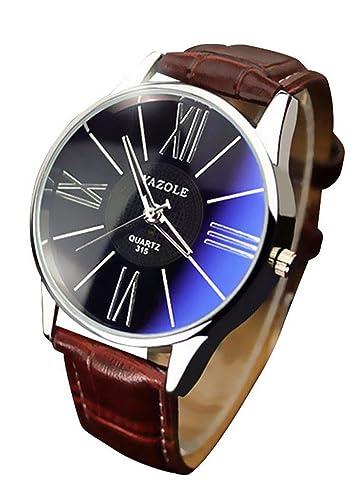 70065cb59 Amazon.com: RoseSummer Famous Luxury Men's Wristwatch Quartz Watch Business  Watch (Black Dial+Brown Strap): Watches