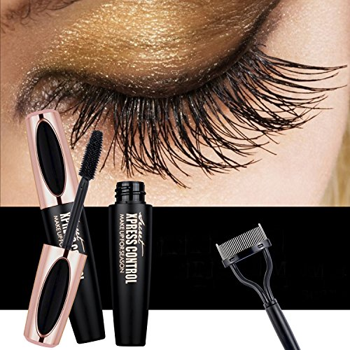4D Fiber Lash Mascara by KASI - Waterproof Long Lasting Lashes Extensions Long Eyelashes Mascara with Free Eyelash Comb - Black (Best Waterproof Mascara Drugstore 2019)