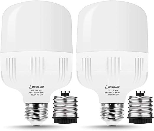 E26 LED Light Bulbs 250-300W Equivalent, High Watt LED Shop Light Bulb 3000K Warm Light, 3400LM E26 Base Bulbs w/ E39 Adapter for Restaurant Garage, 2 Packs