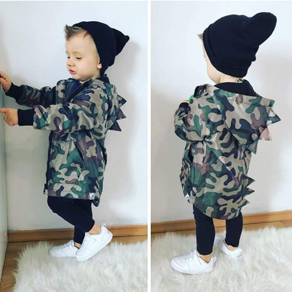Fartido Kids Baby Boy Dinosaur Camouflage Hooded Windbreaker Coat Jacket Outwear