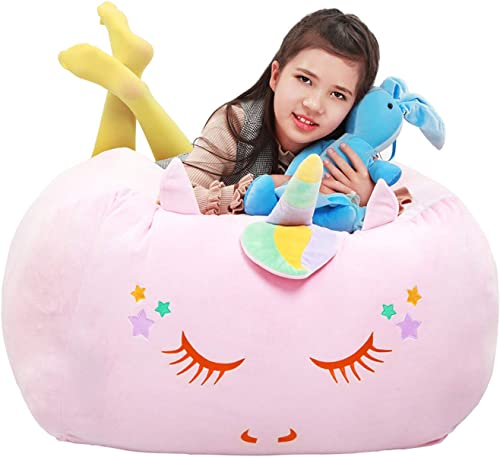 Yoweenton Unicorn Bean Bag Chair with Square Foam Filler Filling Extra Soft Velvet Fabric 24x24x20 Inch Giant Beanbag Sofa Large Size Stuffed Toy Gift for Kids Teens