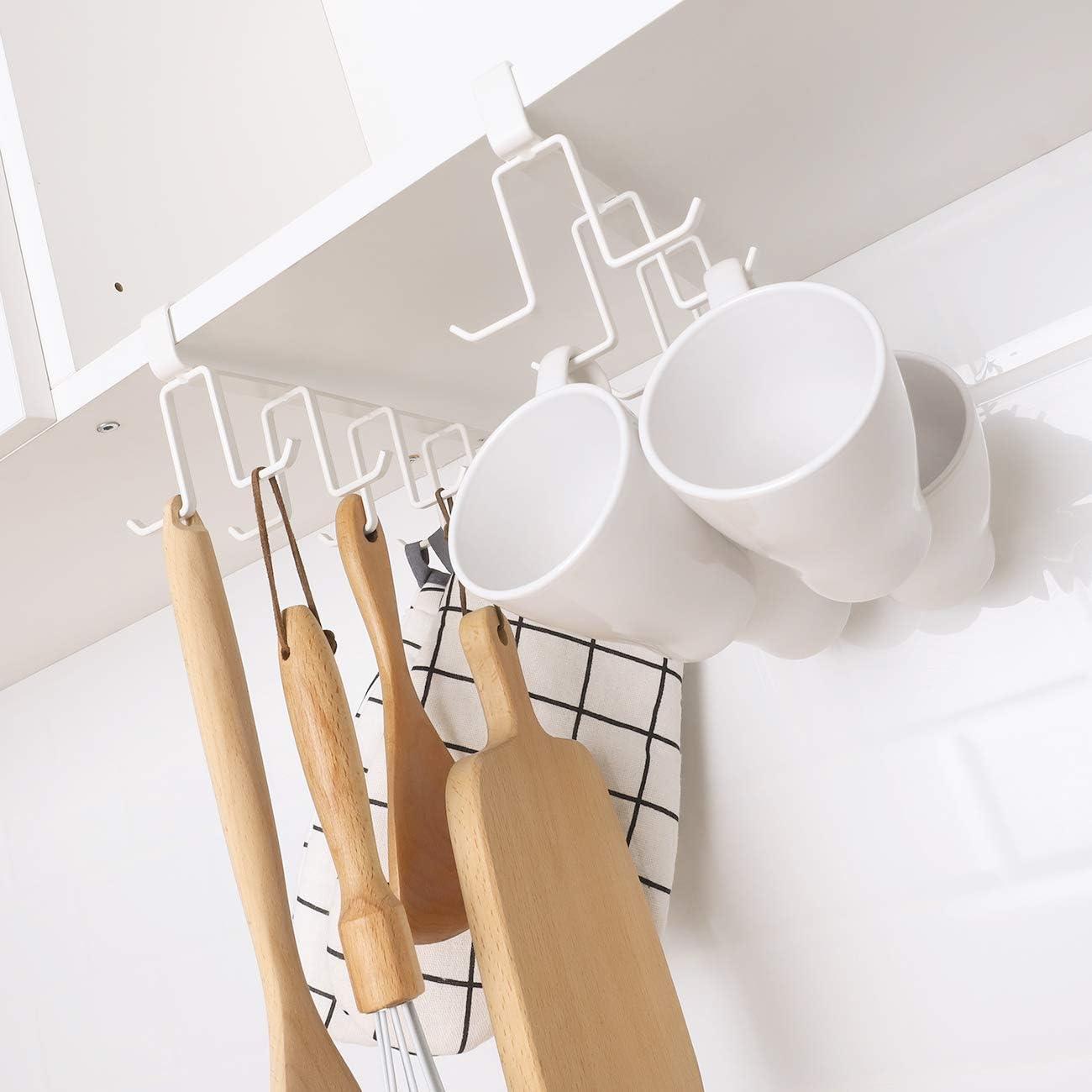 Bianco Mug Ganci Cucina Utensil Appeso Gancio Rack Titolare,10 Ganci Porta Tazza da caff/è sotto Il ripiano per Cucina Cymax Porta Tazze sotto Armadietto
