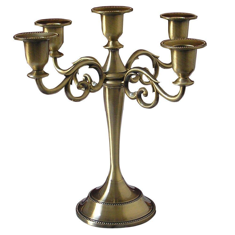 Amazon.com: KINGFOM Antique Style Metal Pillar Candelabra Wedding ...