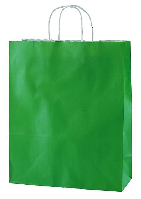 Thepaperbagstore 20 Bolsas De Papel De Colores, Reciclables Y Reutilizables, con Asas Retorcidas, Verdes - Mediana 250x110x310mm