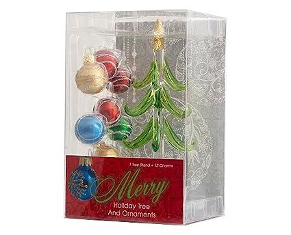 Amazon Com Ls Arts Glass Christmas Tree With 12 Ornaments Home