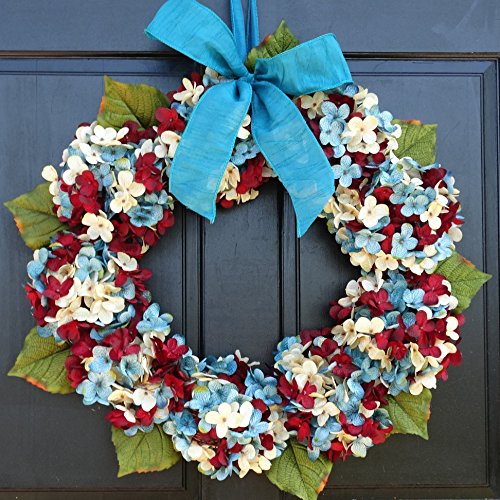 Patriotic 4th of July Wreath for Summer Front Door Decor; Burgundy Red, Cream (Off-White) and Blue Faux Marbled Hydrangeas; Small - Extra Large Sizes from New England Home Accents