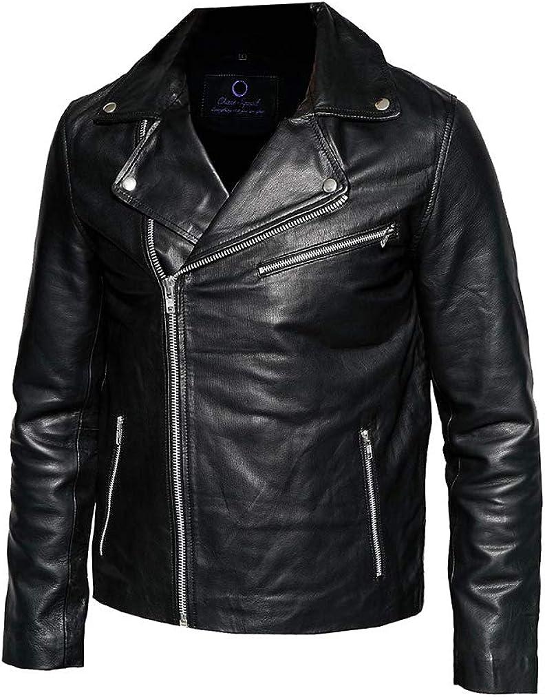 Men/'s Notch Collar Biker Leather Jacket in Black Chase Squad Black Blader Faux Leather Jackets Men