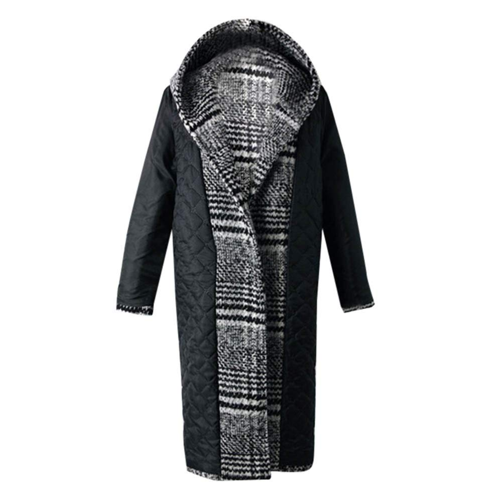 KIKOY Womens Winter Wool Cloth Lattice Warm Thickening Plus Size Long Coat Sale