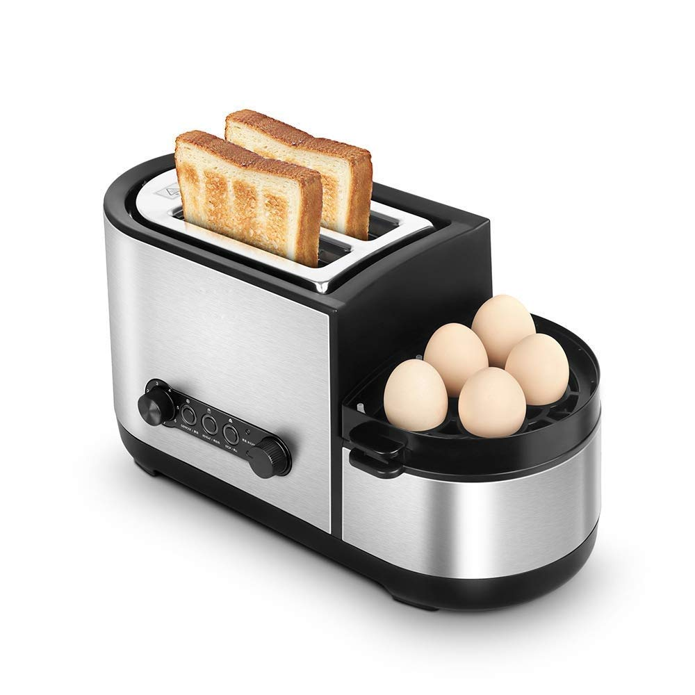 Atten 5-in-1 Toaster Breakfast Machine Multifunction Toaster with Egg Boiler for Toasting/Egg Cooking/Omelette/Steam Cooking, Pull-Out Crumb Tray, Automatic