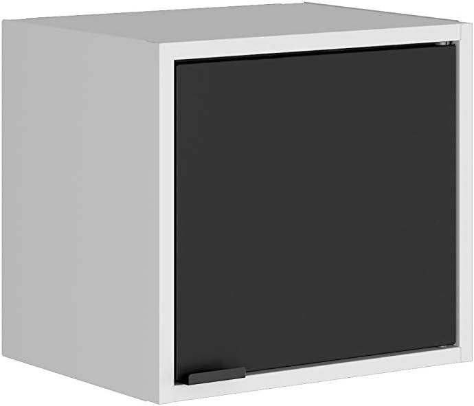 Manhattan Comfort Smart Modern Kitchen Floating Cube Cabinet Organizer, White/Black