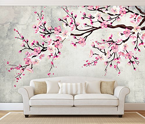 Large Wall Mural Watercolor Style Ink Painting Pink Cherry Blossom on Vintage Wall Background Vinyl Wallpaper Removable Wall Decor