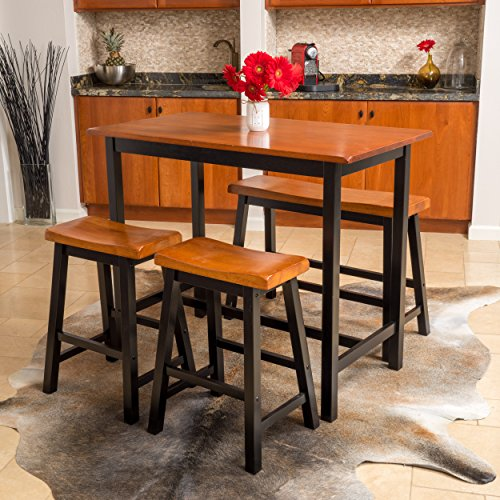 Great Deal Furniture 296033 Denise Austin Home Toluca 4-Piece Wood Dining Set, Walnut, Black