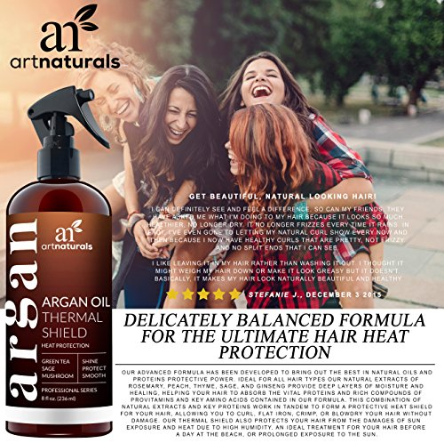 ArtNaturals Thermal Hair Protector Spray - 8.0 Oz - Protective Spray against Flat Iron Heat - Contains 100% Organic Argan Oil Preventing Damage, Breakage & Split Ends - Made in the USA - Sulfate Free by ArtNaturals (Image #2)