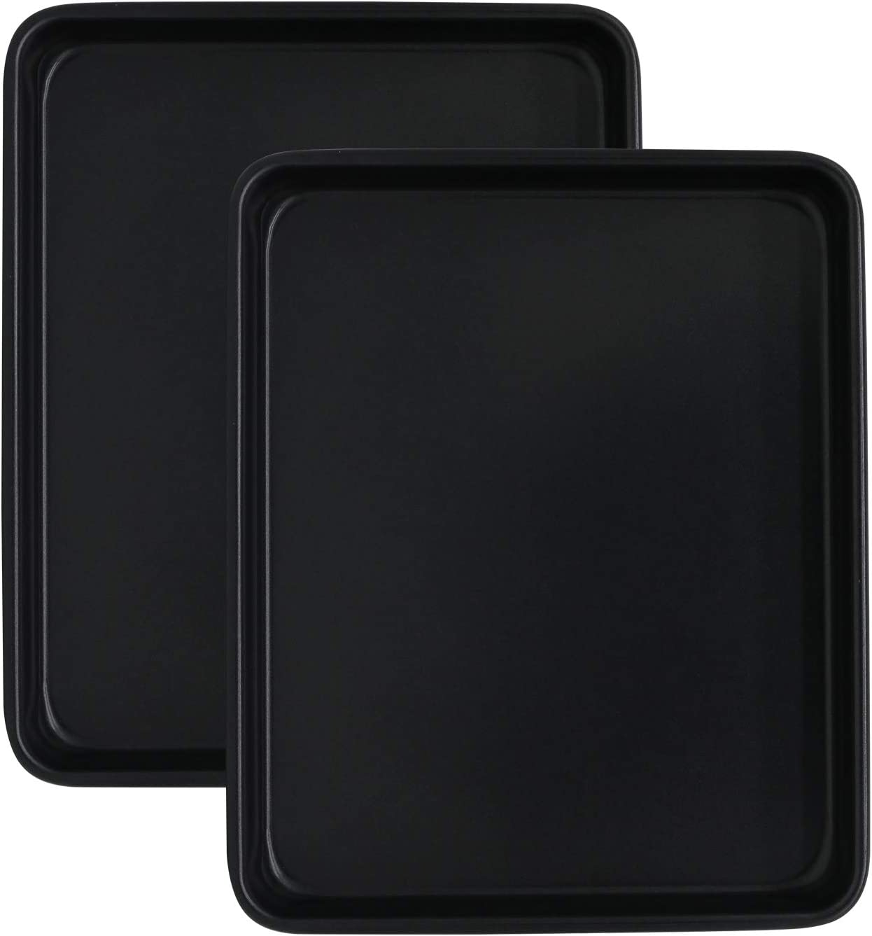 11 Inch Baking Sheets for Oven Set of 2, Shinsin Nonstick Heavy Gauge Steel 11X9 Inch Baking Cookie Pans Sheets, 1-inch Deep Professional Baking Trays for Toaster Oven Replacement (Black)