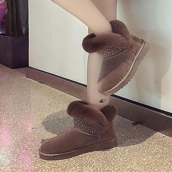 ❤ Botas de Nieve para Mujer, Calzado de Invierno para Mujer Punta Redonda Mantener cálidas Botas de algodón Botas Cortas para la Nieve de Absolute: ...