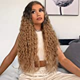 AISI QUEENS Long Curly Wig Ombre Brown Hair Wigs for Women Middle Part Curly Wavy Wigs Synthetic Wigs Heat Resistant…