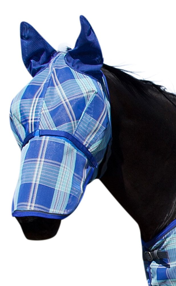Kensington Signature Fly Mask with Removable Nose and Soft Mesh Ears — Protects Horses Face, Nose and Ears From Biting Insects and UV Rays While Allowing Full Visibility KPP111-111116