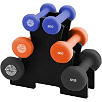 Hacienda Cast-Iron core and Neoprene 7-Piece 20kg Weighted Dumbbell Set, Free Hand Weight Dumbbell Sets with Rack