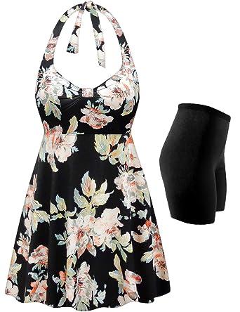 d442201cbd3 Plus Size Swimsuit 2-PC Halter Swimdress Peony Floral Print at ...