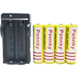 Ponnky 4 pcs 3.7V 18650 5000mah Rechargeable Lithium Battery with 18650 battery Charger