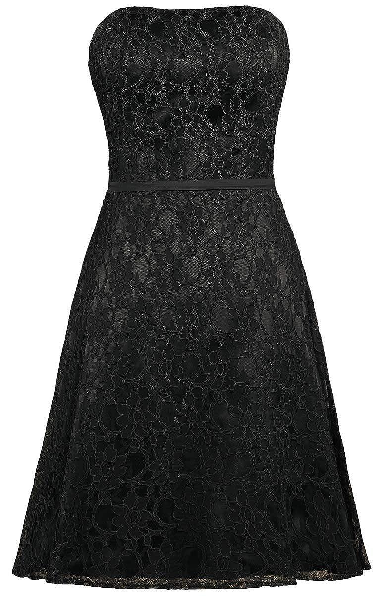 Black ANTS Women's Strapless Lace Bridesmaid Dresses Short Party Gown