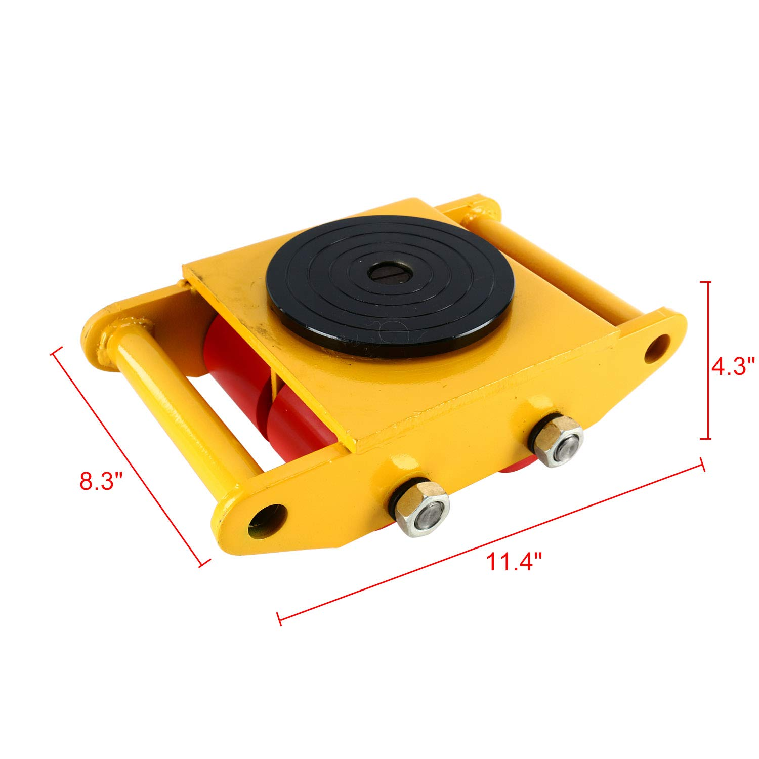 YaeTek Industrial Machinery Mover 13200 lbs 6 Tons Machinery Skate Dolly with 4 Rollers Cap 360 Degree Rotation (Yellow) by YAE TEK (Image #6)