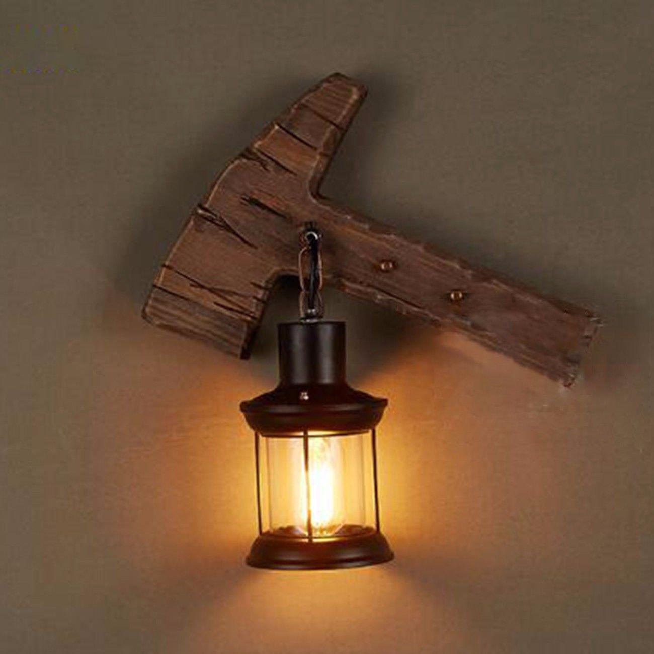 Wandlampe Nordische Art Retro - Korridor Stufen Treppe Holz Wand Lampe Loft Der Wohn - Esszimmer Massivholz Wall Lamp,G