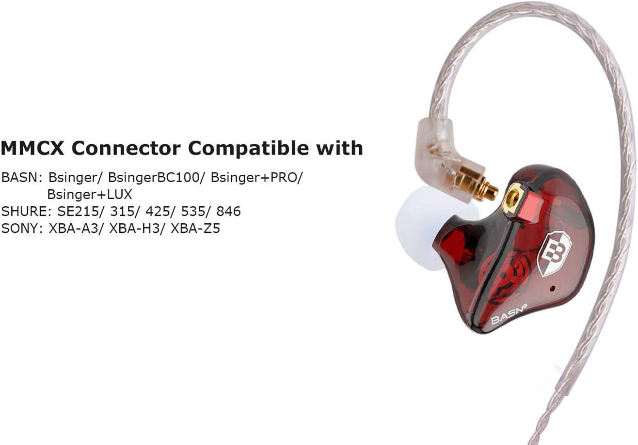 BASN BC100 MMCX Detachable Earphone Cable Shure SE846 SE535 SE425 SE315 SE215 UE900 Hand-Woven Upgrade Wire for BASN Bsinger Black